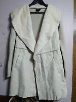CLICHE' Women's Sz S Open Cardigan Sweater Cream Shearling Faux Fur Suede NWT