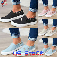 Women Walking Shoes Loafers Flat Fashion Casual Comfy Slip On Sneakers Canvas US