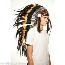 Black White Feather Native American Indian Headdress Coachella MH005 USA SELLER
