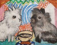 Lionhead Rabbit drinking Coffee 13 x 19 Farm Art Print Signed by Artist KSams
