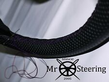 FOR HUDSON HORNET 50-57 PERFORATED LEATHER STEERING WHEEL COVER PURPLE DOUBLE ST
