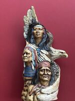 Native Apache Indian Totem,  Man, Chief, Eagle Figurine Indigenous Collectible