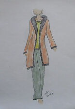 Original Modezeichnung Modeskizze Mode Damen 20,5x29cm fashion sketches 20-163
