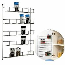 5 TIER CHROME SPICE RACK BACK OF DOOR SPICE JAR PACKET HOLDER STORAGE KITCHEN