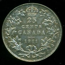 1911 Canada 25 Cent Piece, King George V    P235