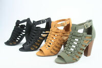 NEW Women's Ankle Strap Zip Buckle Open Toe High Heel Sandals Shoes Size 6 - 11