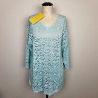 Modern Soul QVC Sweater Womens L Blue Open Knit V-Neck 3/4 Sleeve Tunic Top NEW