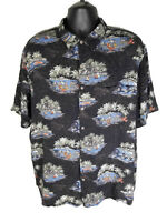 Batik Bay Mens 2XB Black Mutlicolor 100% Rayon Tropical Hawaiian Aloha Shirt