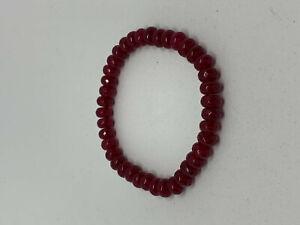 Natural Garnet Gemstone Faceted Rondelles Beaded Stretch Bracelet