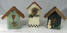 3 Rustic Decorative Wood Bird Houses Birdhouse Cabin Garden Patio Porch Decor