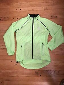 Canari Cycling Convertible Jacket/Vest Women's Small Hi-Vis Yellow Zip Pockets