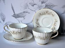 Set 2 Paragon Bone China LAFAYETTE Tea Cup Saucer set, gold trim, bone china