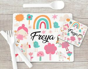 Fairy Unicorn Rainbow Print Placemat Coaster Set, Girls Placemat Stocking Filler