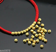 10Pcs Pure 999 24K Yellow Gold Loose Beads 3mm Lucky Beads Pendant Hot Sale Yuxi