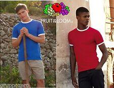 STOCK pezzi 50 maglietta FRUIT OF THE LOOM T-shirt RINGER 7 varianti BICOLORE #
