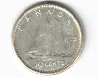 CANADA 1955 10 CENT DIME QUEEN ELIZABETH II .800 SILVER COIN CANADIAN