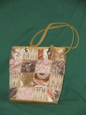 Maggie Barnes Beaded Tapestry Shoulder Bag Purse-Tan and Pink-EC