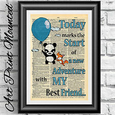 Mounted art print antique dictionary book page baby panda and fox balloon decor