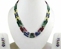3 Strings Natural Ruby Emerald Sapphire 925 Silver Gem Beads Necklace & Earrings