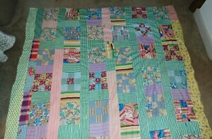 VINTAGE COUNTRY QUILT TOP Hand Pieced FARMHOUSE DECOR