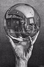 M C Escher  'Hand with reflecting sphere'  - FINE ART PRINT Escher Surreal Art