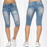 Ladie's Jeans 3/4 Capri Pants Used Destroyed Shorts Cracks Hole Bermuda Trousers