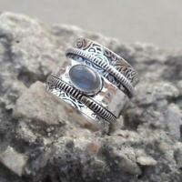 925 Sterling Silver Meditation Spinner Labradorite  Wide Band Ring Jewelry