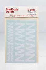 SHELLSCALE O SCALE 109 N&W DIESELS WHITE LETTERING DECAL C-C