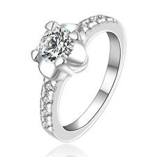 Silver Flower medium women wedding bridal ring diameter 17 mm size O FR231