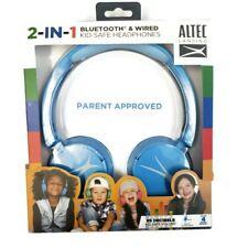 Altec Lansing 2-in-1 Bluetooth & Wired Kid-Safe Headphones Kid Safe Volume Blue