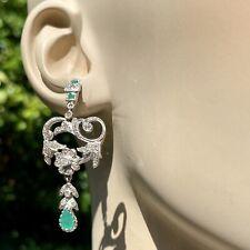 14K White Gold Silver Diamond Emerald Chandelier Antique Scrolls Flower Earrings