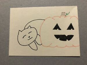 Original ACEO ~ Cat And Jack-O-Lantern ~ 3.5 Inch By 2.5 Inch Ink Drawings