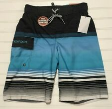 NWT Boys ZeroXposur Swim Trunks Size Small S 8 Scuba White Blue Suit