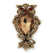 Citrine CZ Owl Brooch In Gold Plated Metal - 6cm Length