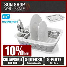 D.LINE MadeSmart Collapsible Dish Rack White Drying Drainer Plate Cutlery Holder
