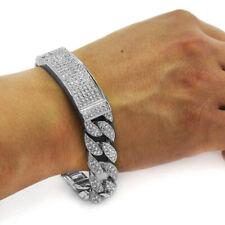 "Luxury Hip Hop Silver Plated 13mm 8.5"" ID Miami Cuban Link CZ Full Iced Bracelet"