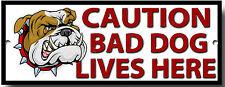 CAUTION BAD DOG LIVES HERE METAL SIGN,DOG BREEDS,SECURITY,WARNING SIGN