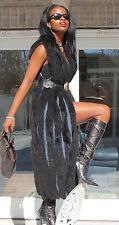 Designer Full Length Black  Opossum & Sheared Fur Vest for Coat Jacket S-M 8-12