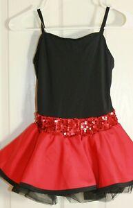 Weissman Dress Recital Dance Costume Red Sequin & Black