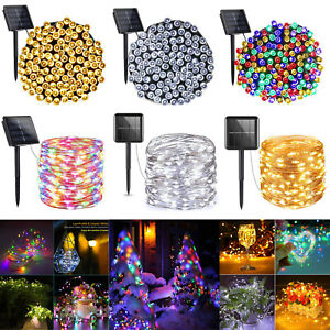 100-500 LED Solar String Fairy Lights Outdoor Waterproof Lamp Wedding XMAS Decor