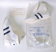 ~NEW~ Vintage Matman Milon Wrestling Shoes Size 10 (1980's?) White Blue RARE