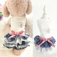 Pet Dog Denim Skirt Puppy Small Dog Chihuahua Dot Dress Fashion Summer Dog Skirt