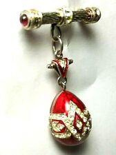 BROOCH Imperial Russian Silver Sterling 925  Brooch Faberge Egg Hook Enamel
