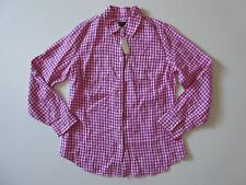 NWT Talbots Pink Gingham Check Convertible Roll Sleeve Linen Button Down Shirt S