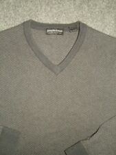 EXCELLENT JOSEPH & LYMAN Gray Herringbone 100% CASHMERE V NECK SWEATER TOP M/L