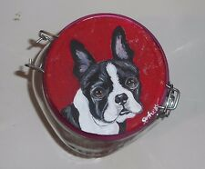 Boston Terrier Dog Cookie Treats Jar Hand Painted Kitchen Decor Collectible