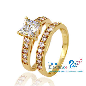 18k yellow gold GF engagement wedding solid ring sets simulated diamonds Sz7