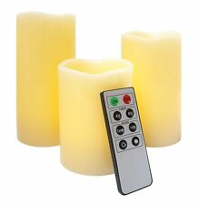 Mooncandles - 3 Real Wax Flameless Candles With Timer and Remote Control White