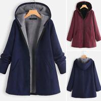 Womens Winter Warm Solid Fleece Hooded Parka Coats Jackets Zip Outwear Plus Size