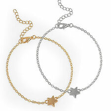 """Gold Silver Tone 2 Piece Set Ankle Chain Star Anklet Length 8.5"""" - 10.5""""  UK -70"""